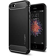 Funda iPhone SE, Spigen Funda iPhone 5S / 5 [Rugged Armor] Resilient [Black] Ultimate Protection & Rugged Design with Matte Finish, Funda Apple iPhone 5SE / 5S / 5 / SE (041CS20167)