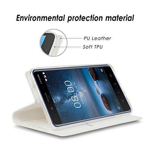 Nokia 8 Handyhülle, Feitenn dünne Premium PU Leder Flip Handy Schutzhülle | TPU-Stoßstange, Magnetverschluss, Kartenschlitz, Kameraschutz- und Standfunktion Brieftasche Etui (Grau) Weiß