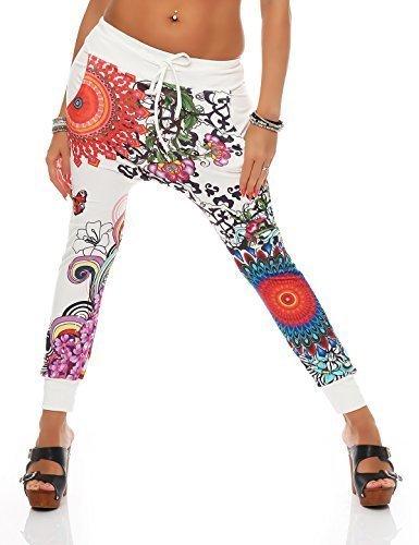 zarmexx-Pantalones de jogging-de flores hippy- Look pantalones de jogging Jogger verano pantalones talla única blanco blanco 38