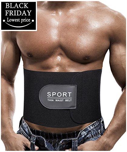 Verstellbare Abnehmen Neopren Weste Hot Sweat Gürtel Body Shaper für Gewichtsverlust (Schwarz, M:Länge 104 cm)