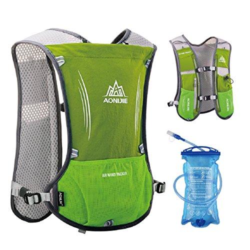 TRIWONDER Hydration Pack Rucksack 5L Marathoner Laufrennen Trinkweste (Hellgrün - mit 1.5L Wasserblase)