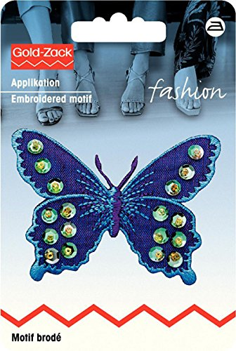 Motif br. papillon violet/bleu avec paillettes