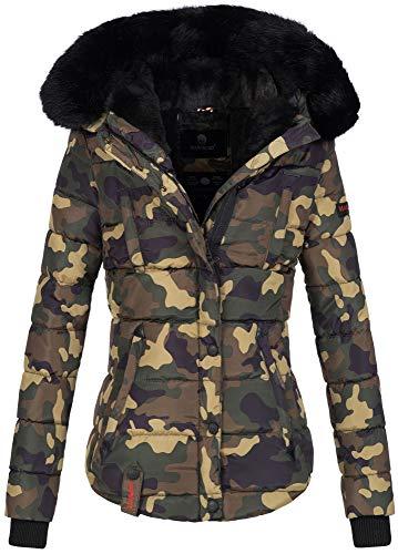Marikoo warme Damen Winter Jacke Winterjacke Steppjacke gefüttert Kunstfell B618 [B618-Lotus-Camo-Gr.S]