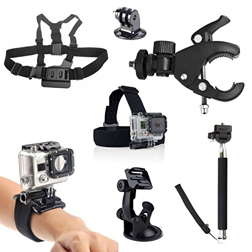 SAVFY® 7 IN 1 GoPro Sport Kamera Zubehör-Set 7 Stück Saugnapfhalterung + Kopfband + Brustgurt + Klettband Handgelenk+Teleskophand Pole-Halter+ Fahrradlenkerhalterung+Stativ Adapter für GoPro HD Hero 1 2 3 3+