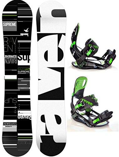 Snowboard Set: Snowboard Raven Supreme 2017 + Bindung Raven s220 Green XL (163cm Wide)