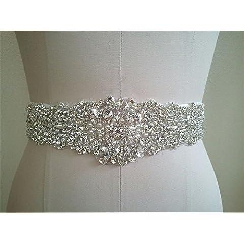 TRLYC matrimonio sash/Cintura strass applique RA210 trlyc champagne ribbon