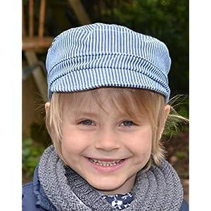 Michelmütze Baumwolle blau/weiß gestreift