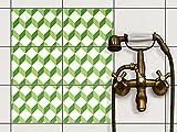creatisto Dekorfliesen Designfolie | Fliesen-Aufkleber Folie Sticker selbstklebend Küche renovieren Bad Wand Dekoration | 20x15 cm Muster Ornament 3D Cubes - Grün - 6 Stück