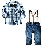 [Bekleidungsset Kinder Jungen] Hemd mit Fliege + Hose mit Träger Baby Gentleman Anzug Baumwolle Kleinkinder Set Babyanzug Blau