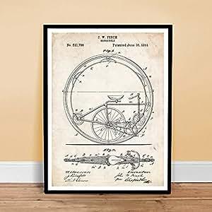VIEILLE BICYCLETTE MONOCYCLE MONOCYCLE INVENTION 1894 BREVET US ART RETRO POSTER 18 X 24 PINSON CIRCUS VÉLO CADEAU