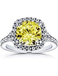 Fancy amarillo cojín Moissanite y Diamond Halo anillo de Catedral 31/3quilates en 14K oro blanco _ 8,5