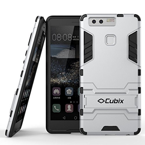 Quicksand Cubix Robot Case For Huawei P9 Case Back Cover Warrior Hybrid Defender Bumper Shock Proof Case Armor Cover With Stand For Huawei P9 Silver  available at amazon for Rs.299