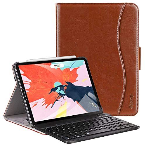 Ztotop Tastatur Hülle für iPad Pro 12.9 2018(3. Generation),Premium Leder Abnehmbare Bluetooth Tastatur Automatische Schlaf/Wach Schutzhülle für iPad Pro 12.9 Zoll 2018 Tablet(Braun) -