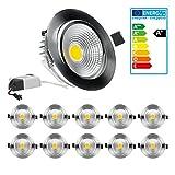 ECD Germany 10 x LED-Einbaustrahler COB Spot 7W 412 Lumen Aluminium Silber Abstrahlwinkel ca. 30° - 60° AC 220-240V erstezt ca. 40W Warmweiß 2800K Einbauleuchte Deckenleuchte Leuchtmittel