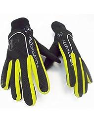 VeloChampion Guantes de ciclismo para otono, impermeables/resistentes al viento - Autumn Gloves (Blk/Fluoro Yel, Medium)