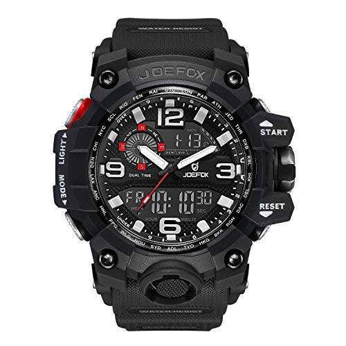 LIBARTE Herren Digitale Uhren Analog-Digital Display Quarz-Uhrwerk mit Schwarz Militär Armband