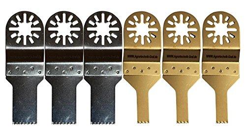 Agrartechnik-Graf Set Bestehend aus 3 x Standard Sägeblatt 10 mm und 3 x 20 mm Sägeblatt für Holz, Plastik und Gipskarton für Bosch GOP