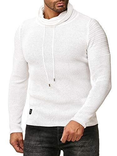Red Bridge Herren Strickpullover Rollkragen- Pullover Shoulder Lines Weiß L