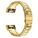 Für Fitbit Charge 2 Armband / Fitbit Charge 2 Armbänder, Wearlizer Edelstahl Metall Replacement Wrist Band Bänder Watchband Uhrband Uhrenarmband für Sport Fitness Tracker Fitbit Charge HR Two - Silber / Schwarz / Rosa Gold / Gold
