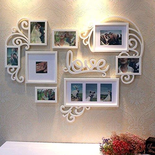 Sx-zzj portafoto multiplo- photo frame photo wall combinazione creativa soggiorno americano camera da letto parete romantico amore a forma di cuore decorazione della camera di nozze (colore : a)
