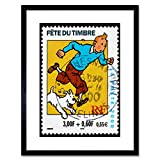 Wee Blue Coo Postage Stamp France Euro Tintin Snowy Herge Postmarked Framed Wall Art Print...
