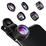 Kamera Objektiv, Hizek 5 in 1 Objektiv Set Smartphone Zubehör FishEye Fischauge Objektiv Linse Optische Weitwinkelobjektiv Micro Objektiv Linsen CPL Polfilter für iPhone 7/7 Plus / 6s / 6/5, Samsung S7 / S7 Edge usw.--Schwarz