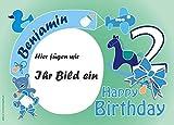 Tortenauflage 2.Geburtstag Junge mit Foto, Namen u. Alter, Rechteck
