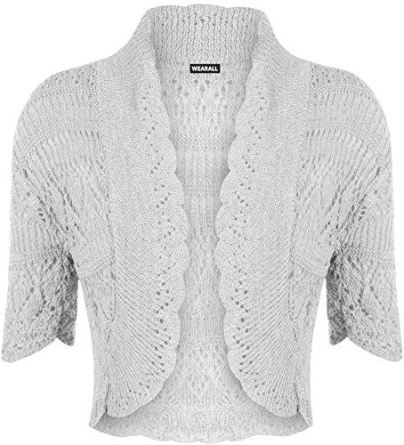 Lavorato a maglia a maniche corte da Donna WearAll - Bolero 18 - colori - dimensioni 36-42 Light Grey