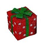 Ouken 5.9 * 5.9 inchs Navidad Caja de Regalo de la decoración con Cinta y Copos de Nieve para Decoraciones de Navidad (Rojo)