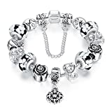 A TE® Bracciale Charms Vetro Beads Cristalli Catena di Sicurezza #JW-B170 (Nero-20cm)