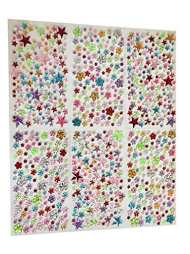 Schmucksteine selbstklebend Sterne Blumen Glitzer-Steine Glitzer-Sticker Brillanten Strass-Steine bunt Bastelset Strass-Sticker Acryl-Sticker ()