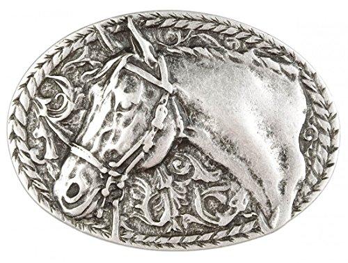 Gürtelschnalle mit Relief - Pferd in Zaumzeug - Wechselschliesse in edlem Design als besonderes Geschenk