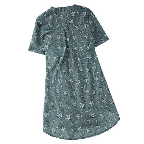 iHENGH Damen Bequem Mantel Lässig Mode Jacke Frauen Frauen mit Langen Ärmeln Vintage Floral Print Patchwork Bluse Spitze Splicing Tops(Grün-2, L)