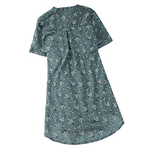 Kviklo Damen Plus Size Shirt Solides Kurzarm O-Neck Loses Vintage T-Shirt Top Bluse Oversize(2(32),Grün-Geblümt Kurzarm) Heavyweight T-shirt Rugby