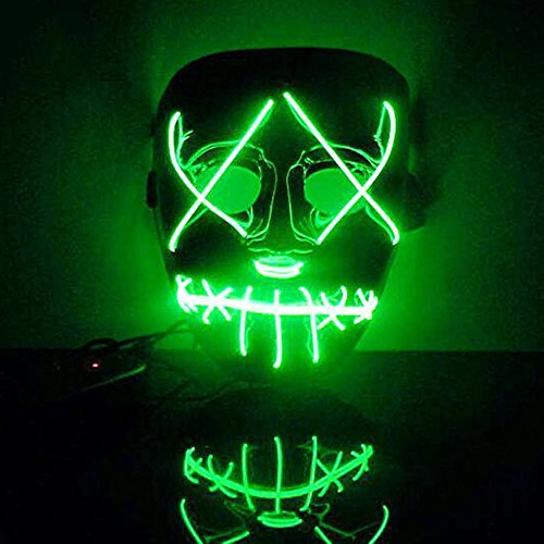 (NINGSANJIN Halloween Maske LED Light EL Wire Cosplay Maske Purge Mask für Festival Cosplay Halloween Kostüm (Grün))