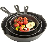 "VonShef Cast Iron 3 Piece Skillet Pan Set, Pre-Seasoned, Oven Safe - 6"", 8"", 10"" - Suitable for All Hobs Including Induction"