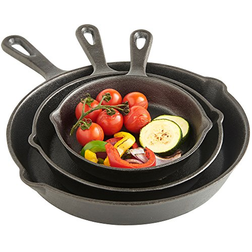 "VonShef Black Pre-Seasoned Cast Iron 3 Piece Skillet Set - 6"", 8"", 10"""