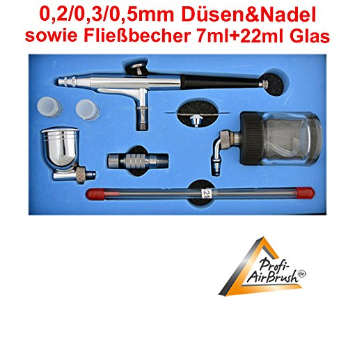 Airbrush-Pistole für AIRBRUSH KOMPRESSOR SET UNIVERSAL-AIRBRUSH-PISTOLE DOUBLE-ACTION 134s inkl. 0,2/0,3/0,5-Düsen+Nadeln + Fließbecher 7mm + 22mm Glas, OPTIMAL zur Entfaltung kreativer Möglichkeiten und Kennenlernen der verschiedenen Techniken
