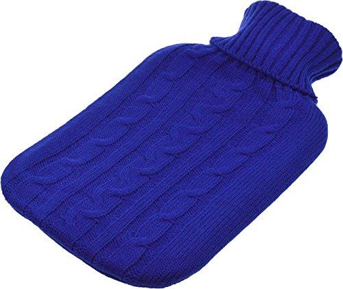 Full Size (Large) Wärmflasche mit Strick Arran Abnehmbarer waschbarer Bezug - Blau