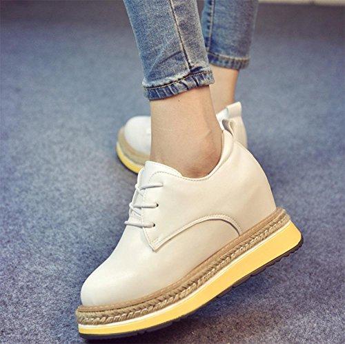 Mme chaussures printemps et d'automne chaussures de sport dans les femmes célibataires plus chaussures chaussures plates muffin croûte épaisse chaussures sangle de corde de chanvre White