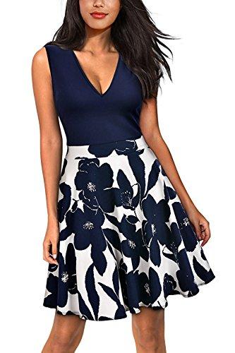 2017 Damen Retro Kleid Swing Tantzkleid Sommerkleid Pinup knielang Blau XL (Marilyn Kleid Plus Size)