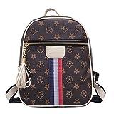 Schultertasche Alte Blumen Tägliche Mode-Paket Damen Leder Rucksack Reisetasche,Beige-28 * 22 * 10cm