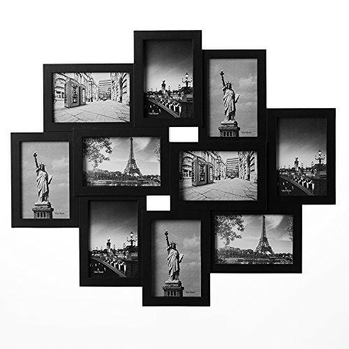Deuba Bilderrahmen Collage I Für 10 Fotos I 10 x 15 cm I Zum Aufhängen I Schwarz I Bildergalerie Fotogalerie Fotorahmen
