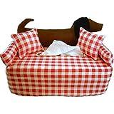 Brauner Dackel auf rot-weiß-kariert - Taschentuchsofa- Handgefertigt