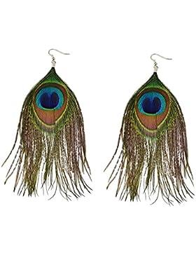 DesiDo® Orientalischer Federohrring Feder Ohrhänger Pfau Pfauenfeder Festival Schmuck Ohrring Peacock