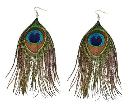 her Federohrring Feder Ohrhänger Pfau Pfauenfeder Festival Schmuck Ohrring Peacock (Beste Cowboy-kostüm)