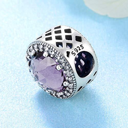 Yzhuzhimy perlina regalo fai da te 25 sterling silver brillanti viola chiaro perline fine cz misura originale creazione di gioielli braccialetto di fascino