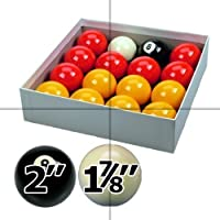 """Red and Yellow 2"""" Pool Ball Set with 1 7/8 Inch Cue Ball for Coin Mech Tables"""