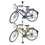 Relaxdays Teleskop Fahrradhalterung, für 2 Fahrräder, verstellbar, bis 40 kg, 3,4 m, Alu Fahrradaufbewahrung Decke, silber
