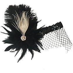 Sharplace Diadema Sombrero Clásico Negro para Mujer Tocado de Pluma Cinta de Cabeza de Tejido